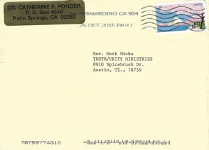 Catherine Ponder letter to Mark Hicks Oct 15, 2015 Envelope