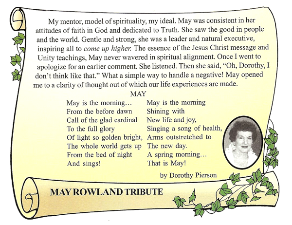 Tribute to May Rowland by Dorothy Pierson