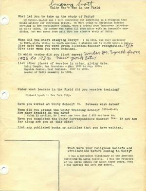 Susanna H. Scott Unity Field Dept Survey 1948-1949