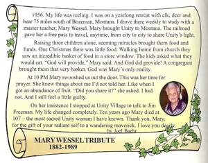 Mary Wessel Tribute by Joel Baehr