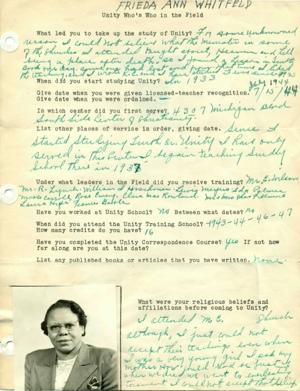Frieda Ann Whitfeld Field Department Survey