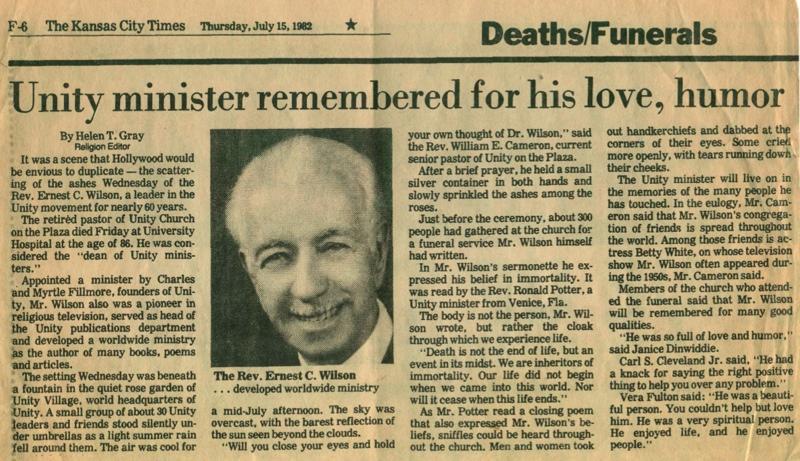 Ernest Wilson Obituary