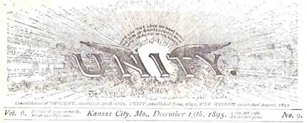 Header for 1895 December 15 Unity Magazine
