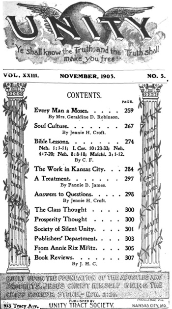 1905 November issue of Unity Magazine