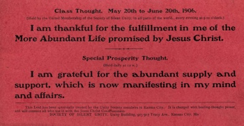 Class Thought in 1906 May Unity Magazine