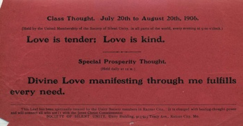 Class Thought in 1906 July Unity Magazine