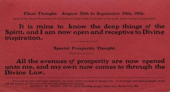 Class Thought in 1906 August Unity Magazine