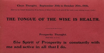 Class Thought in 1906 September Unity Magazine