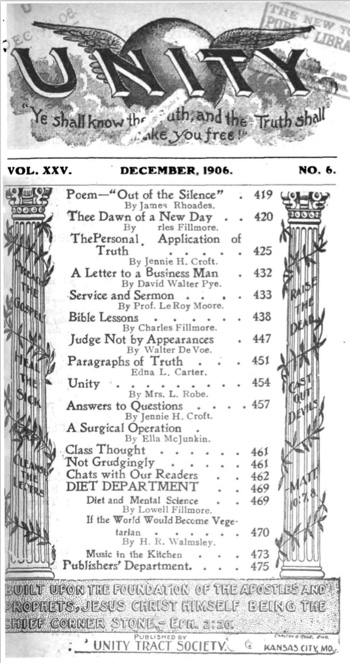 1906 December issue of Unity Magazine