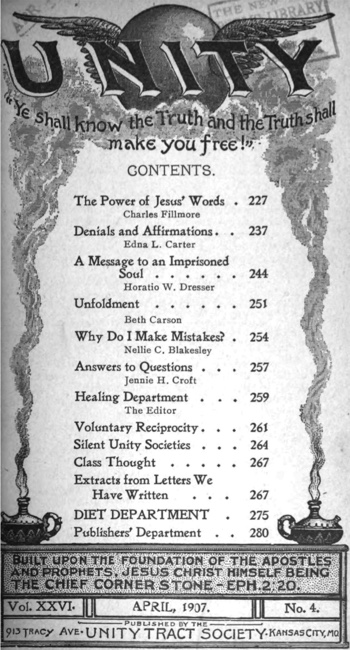 April 1907 issue of Unity Magazine