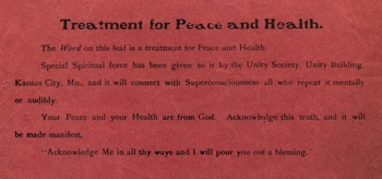 Unity Treatment for Peace and Health in April 1907 Unity Magazine