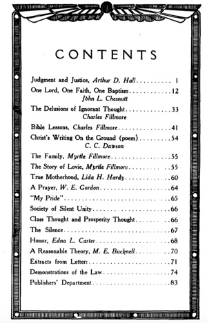 Unity Magazine July 1912 Contents