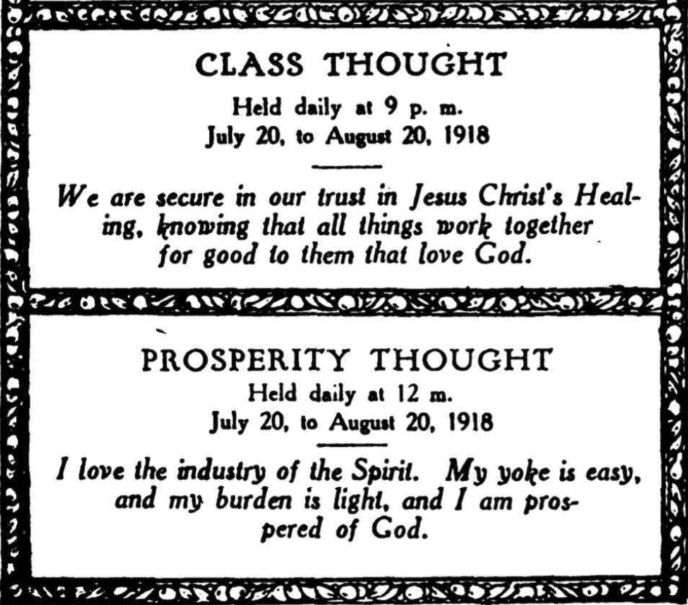 Class Thoughts from Unity Magazine December 1918
