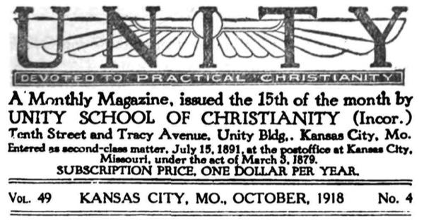 Unity Magazine October 1918 Banner