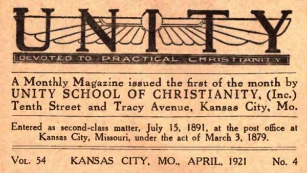 Unity Magazine April 1921 Banner