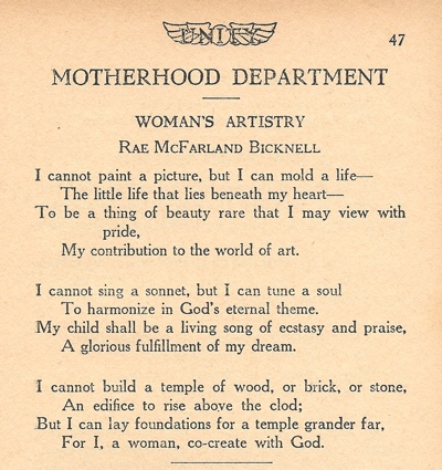 Poem by Rae McFarland Bicknell entitled Womens Artistry in 1925 January issue of Unity Magazine