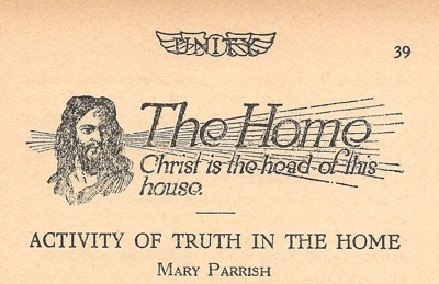 Banner for The Home in 1925 January issue of Unity Magazine
