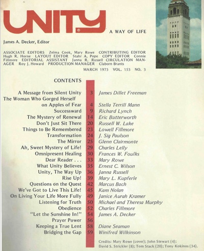 March 1973 issue of Unity Magazine