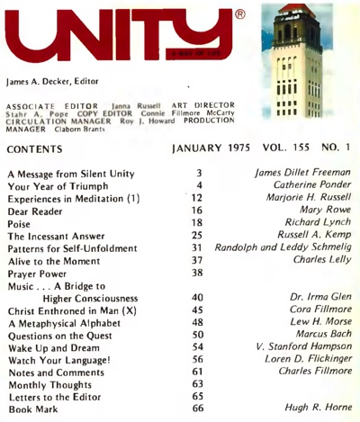 January 1975 issue of Unity Magazine