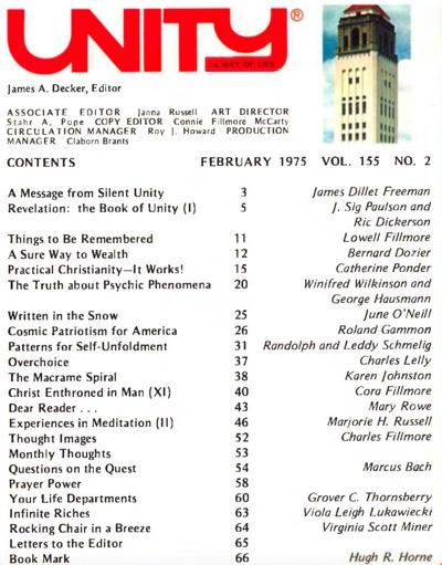 February 1975 issue of Unity Magazine