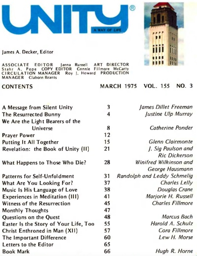 March 1975 issue of Unity Magazine
