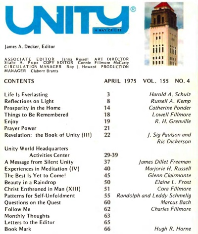 April 1975 issue of Unity Magazine