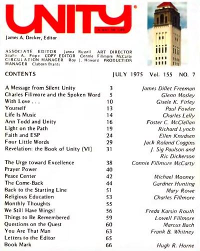 July 1975 issue of Unity Magazine