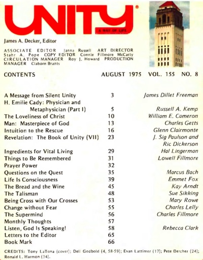 August 1975 issue of Unity Magazine