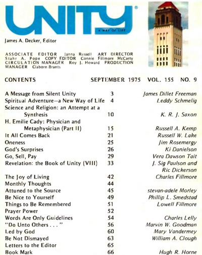 September 1975 issue of Unity Magazine