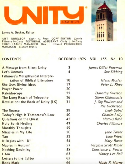 October 1975 issue of Unity Magazine