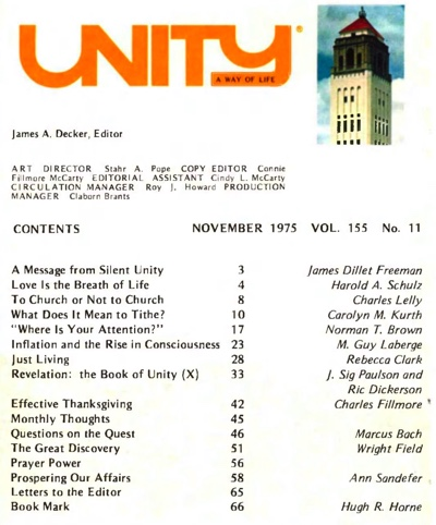 Novembrer 1975 issue of Unity Magazine
