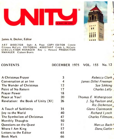 December 1975 issue of Unity Magazine