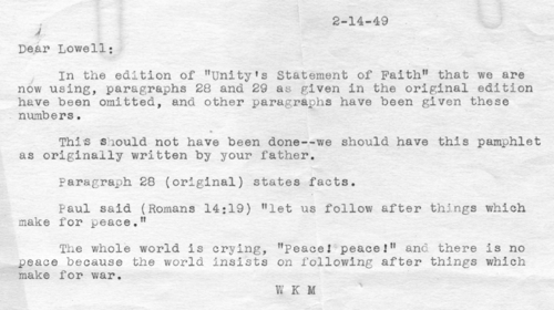 Memo to Lowell Fillmore dated 1949-02-14