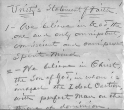 Statement of Faith handwritten by Charles Fillmore