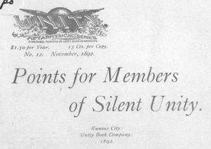 POINTS FOR MEMBERS OF SILENT UNITY Cover