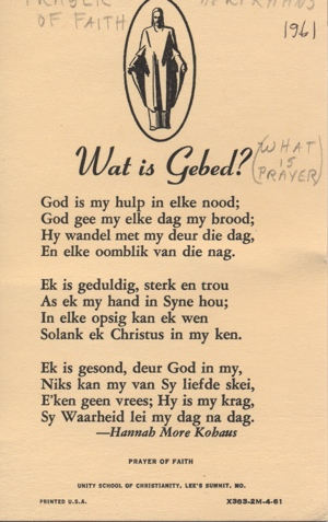 The Prayer of Faith in Afrikaans