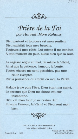 The Prayer of Faith in French