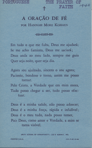 The Prayer of Faith in Portuguese