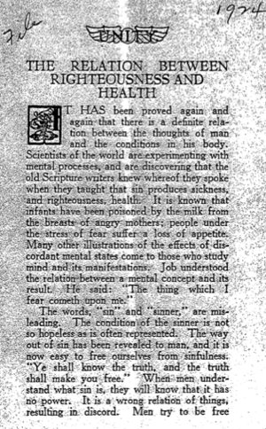 The Relationship Between Righteousness and Health Cover