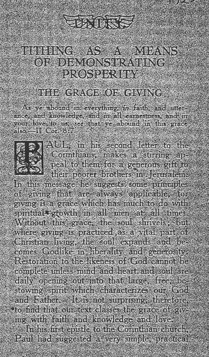 Tithing As a Means of Demonstrating Prosperity tract cover