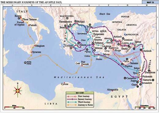 Bible Interpretation ActsRevelation – Map Of Pauls Travels