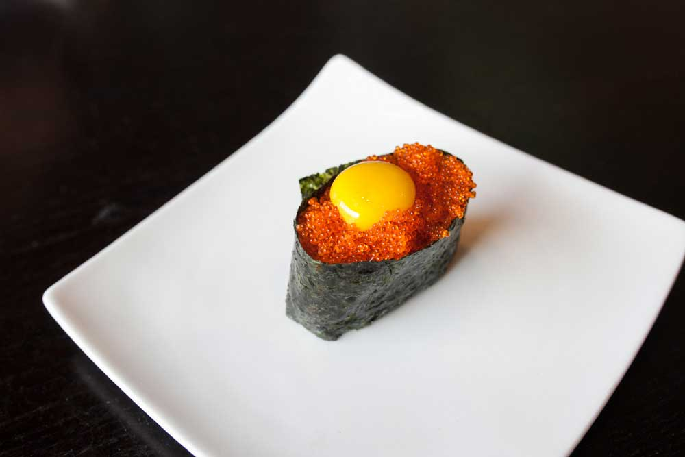 Caviar flying fish roe with quail egg for Flying fish roe