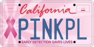 Free California Pink Ribbon License Plate - Calif. Only