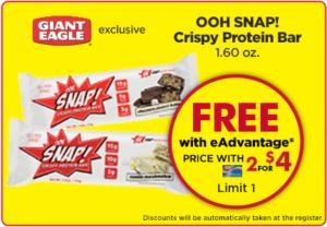 Free OOH Snap! Crispy Protein Bar at Giant Eagle