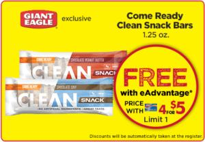 Free Come Ready Clean Snack Bars at Giant Eagle