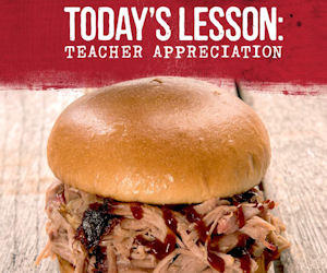 Free Pork Sandwich for Teachers at Sonny's BBQ