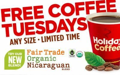 Free Coffee - Holiday Stationstores - Tuesdays
