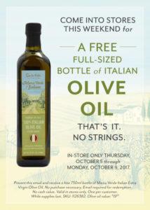 Italian Olive Oil - Free Bottle -  Sur la Table
