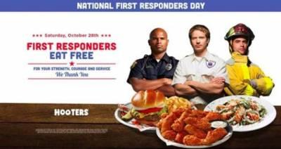 First Responders - Free Meal Hooters on Oct 28