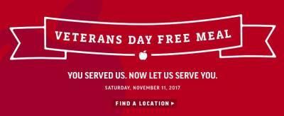 Applebee's - Free Meal - Veterens Day